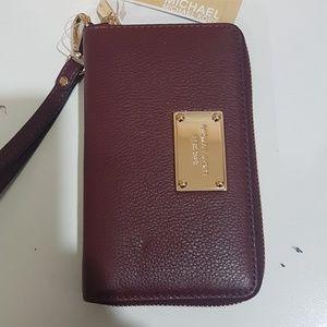 Michael Kors Pebbled Burgundy Cellphone Wristlet